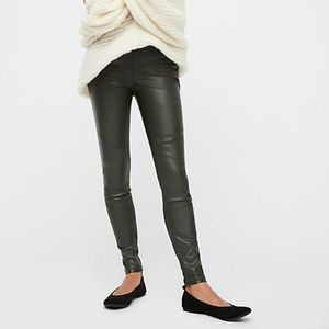 Free People Black Faux Leather Vegan Legging Pants